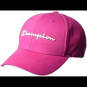 Unisex Champion Twill Script Strap Back Hat